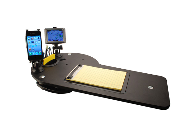 Car desk and docking station for electronics journidock - Notepad holder for car ...